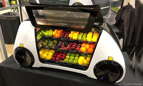A remote-controlled grocery store on wheels model